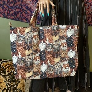 Handbags - Large cat print bag